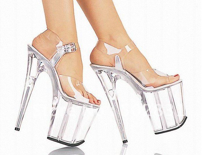 Image - Crystal-SANDALS-thick-bottom-sexy-high-heels-Silver ...