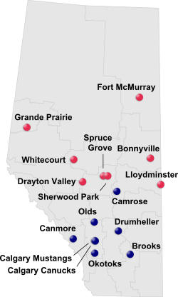 AJHL team locations 2014-15