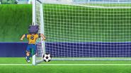 Hikaru walking against the goalpost GO 25