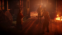 Betty, Delsin and Hank at burning longhouse