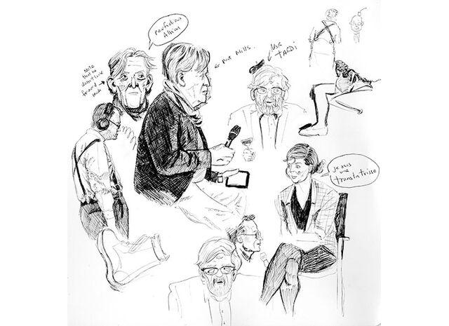 File:Live sketch of Jacques Tardi, Paul Gravett, Pat Mills at Comica talk 2015.jpg