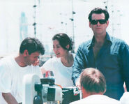 007- Dickey Beer on-set of Tomorrow Never Dies with cast