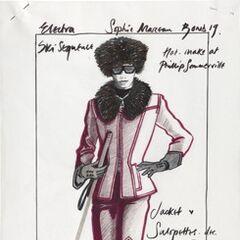 Concept sketch of Elektra's Ski-Suit; artwork by Costume Designer, Lindy Hemming.