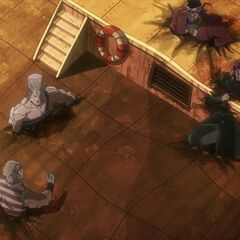 The Joestar group trapped and sinking into the floor