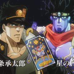 Jotaro and Star Platinum with the tarot card representing