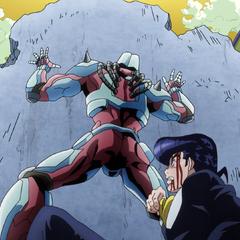 Using the pavement as a shield to protect Josuke.