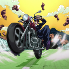 Chasing after Josuke, riding away on Rohan's motorcycle.