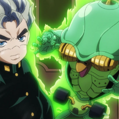 Koichi with his new Stand, Echoes ACT1.