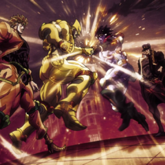 The World and Star Platinum clashing fists