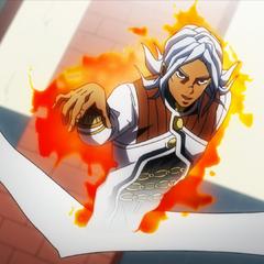 Terunosuke using his Stand on himself.