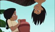 Mowgli is upside down and he's saying hello to Shanti