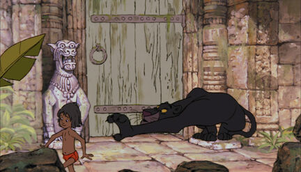 Bagheera the Black Panther is about to reach Mowgli
