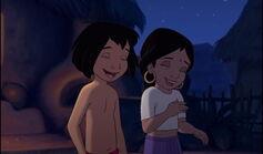 Mowgli and Shanti are both laughing