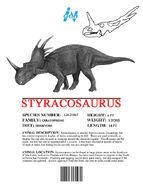 Ingen Dinosaur Info Sheets Styracosaurus