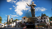 Just Cause 3 statue and armored vehicle