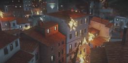 Costa Del Porto (burning houses in trailer)