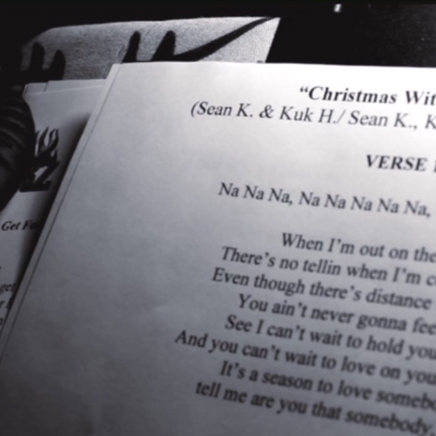 At 5:55 you can see the lyrics of the unreleased song