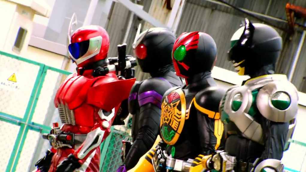 Ryu (As Accel) with Kamen Riders Double, OOO and Birth in Movie War Ultimatum