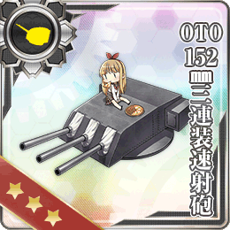 OTO 152mm Triple Rapid Fire Gun Mount 134 Card