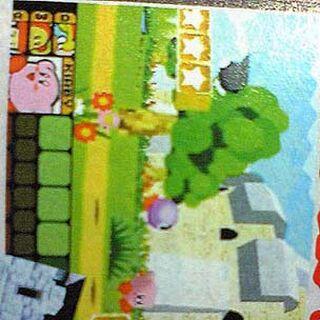 Imagen Beta de Kirby mostrada en una revista (Notese la selección de personajes en la esquina inferior izquierda de la pantalla)