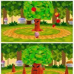 Arriba: Angry Whispy Woods lanzando manzanas. Abajo:usando sus raices como pinchos.