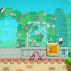 Kirby quitando un parche.