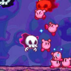 Siete Kirbys enfrentandose e los esbirros de Necrodeus