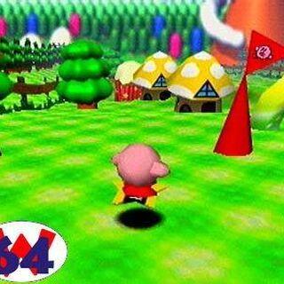 Kirby corriendo por algún lugar.