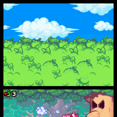 Kirbys luchando contra Whispy Woods.