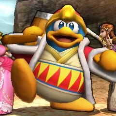 Rey Dedede junto a Peach y Zelda