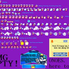 Todos los sprites de Hielo en <i>Kirby: Pesadilla en Dream Land</i>.