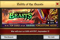 Battle of the Beasts Guild War - Prize Forgestone Aegis Epic Armor