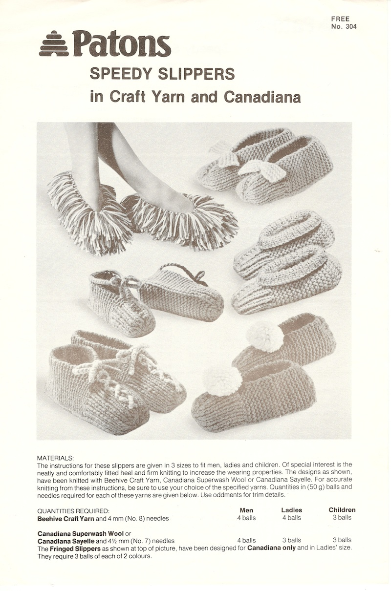 Patons Knitting Pattern Archive : Patons No. 304 Speedy Slippers in Craft Yarn and Canadiana Knitting and Cro...