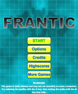 Frantic Main Menu Screen
