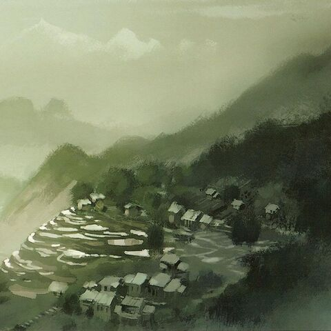 Early concept of the village by Chris Brock