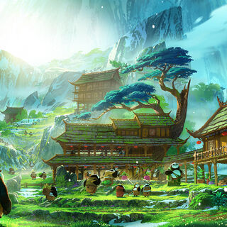 Concept art of the secret panda village