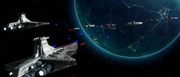 Radis's ships fight the council fleet