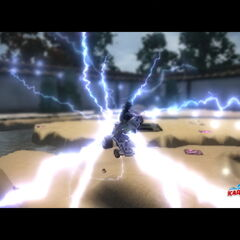 Battle of Kavu Island - Large area full of places to jump to and back, Storm sets her mind into the fight with the Fusion Wave surrounding her.