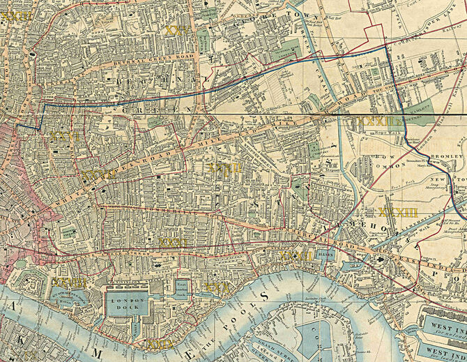 Stepney Area, part of Cross's New Plan Of London, 1853