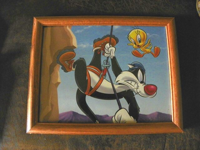 File:Sylvester Tweety Bird WB Looney Tunes Picture Frame '90's 12x14 Rock Climbing.jpg
