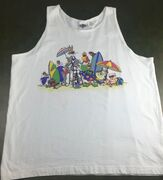 True Vintage 1991 Looney Tunes Bugs Bunny Daffy Duck Sleeveless Beach Tank Top (Front)