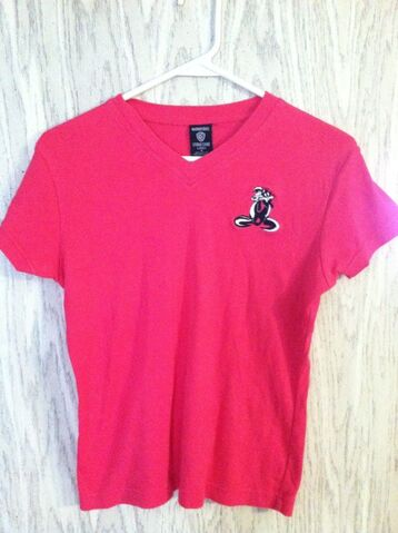 File:1998 Warner Bros PEPE Le PEW Ladies Hot Pink Knit Shirt - Size Med.jpg
