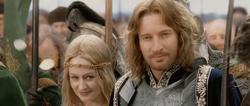 Faramir and Eowyn during coronation