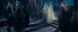 Celeborn and Galadriel with the Fellowship