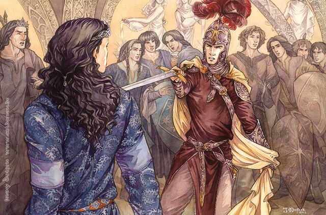 File:Feanor threatening Fingolfin.jpg