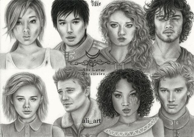 File:Main characters from The Lunar Chronicles by Ali art drawings.jpg