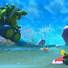 Bowser racing through the sea with cheepers