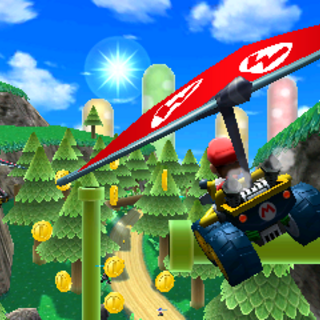 Mario gliding through the air.