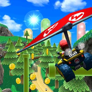 Mario gliding through the air.