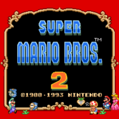 Title screen for the SNES version of <i>Super Mario Bros. 2</i>